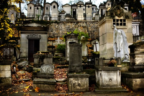30 Nov 2008, Paris, France --- View on the graves of the Pere Lachaise cemetery. The cemetery takes its name from Pere Francois de la Chaise, confessor to Louis XIV, who lived in the Jesuit house on the site of the chapel, rebuilt in 1682. The property, situated on the hillside from which the king, during the Fronde, watched skirmishing between the Conde and Turenne, was bought by the city in 1804, laid out by Alexandre-Theodore Brongniart, and later extended. The cemetery was established by Napoleon I in 1804. There are over 300,000 bodies buried there, and many more in the columbarium, which holds the remains of those who had requested cremation. --- Image by © Francesco Acerbis/Corbis